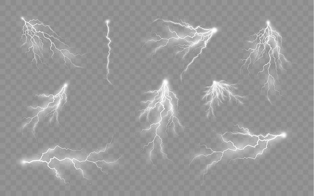 Het effect van bliksem en verlichting set ritsen onweer en bliksem