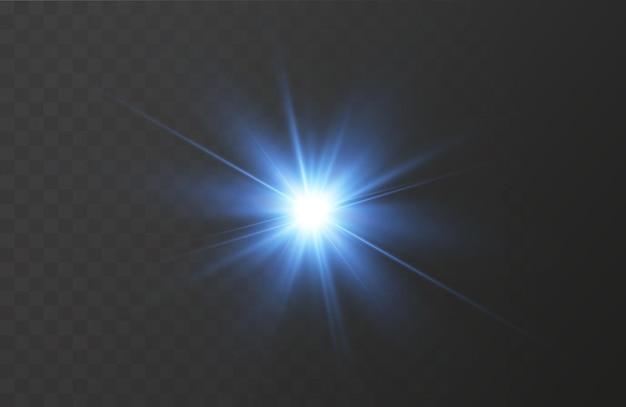 Het effect van een heldere gloed van blauwe sterren