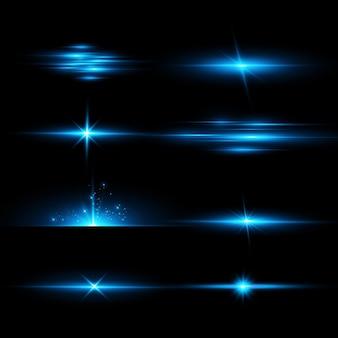 Het effect van heldere gloed van blauwe sterren lichtdeeltjes lichteffecten