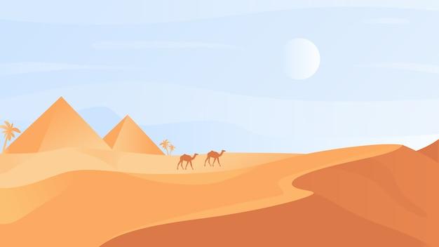 Het egyptische landschap van de woestijnaard met zandduinen