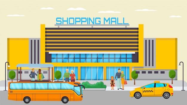 Het einde van het winkelcomplexvervoer met verschillende stadsmensen die en vervoer vectorillustratie wachten wachten. gele bus en taxi weg in de buurt van winkelcentrum