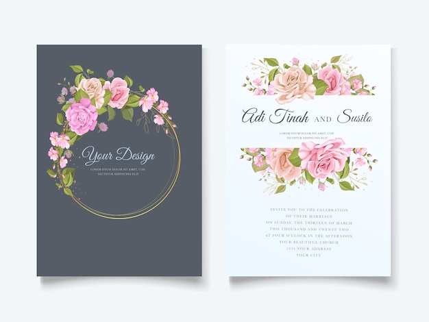 Het elegante bloemenontwerp van de huwelijksuitnodiging