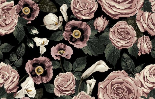 Het elegante naadloze patroon van bloost gestemde rustieke bloemen