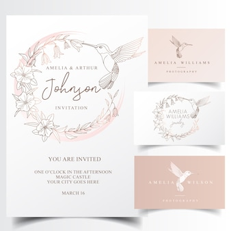 Het elegante ontwerp van het kolibrieembleem en uitnodigingskaart