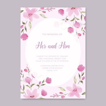 Het elegante roze bloementhema van de huwelijksuitnodiging