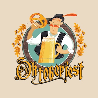 Het embleem van het oktoberfest-bierfestival. een man met een tiroolse hoed met een grote bierpul en een traditionele duitse pretzel. de inscriptie in gotische letters. hand getekend vectorillustratie.