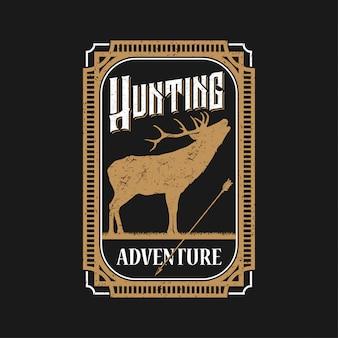 Het embleem van hunting adventure verwaardigt zich