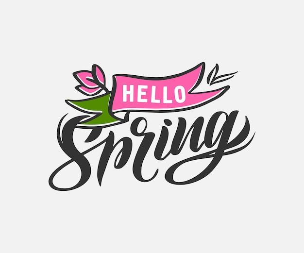 Het embleem voor de lentetijd. handgeschreven kalligrafie belettering zin