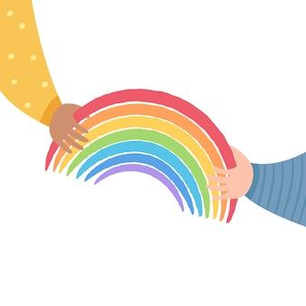 Het ene kind geeft de regenboog door aan het andere. vriendschap en ondersteuning concept. regenboog als symbool van hoop en mededogen. Premium Vector