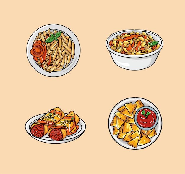 Het eten bestaat uit pasta, macaroni en kaas, enchilada en nacho's.