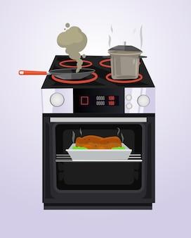 Het eten wordt op het fornuis gekookt.