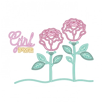 Het etiket van de meisjesmacht met roze geïsoleerd pictogram