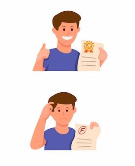 Het examenpapier van de de jongensholding van de student met het pictogram van het goede rang en slechte rangresultaat dat in beeldverhaalillustratie wordt geplaatst die op witte achtergrond wordt geïsoleerd