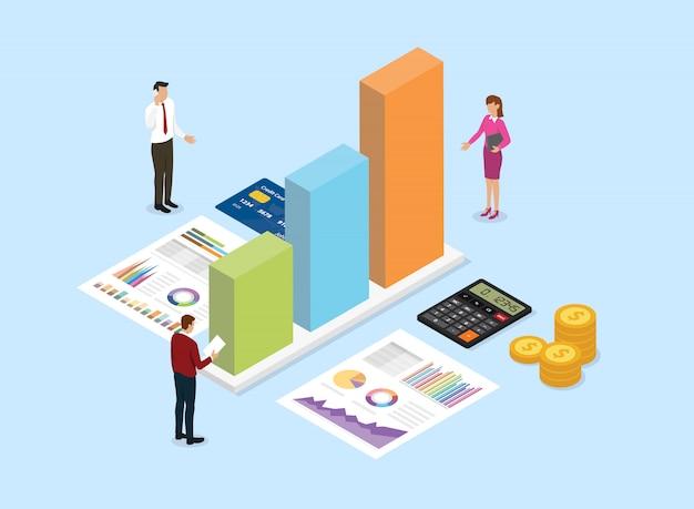 Het financiële concept van het analysebedrijf met teammensen analyseert gegevens van grafiek