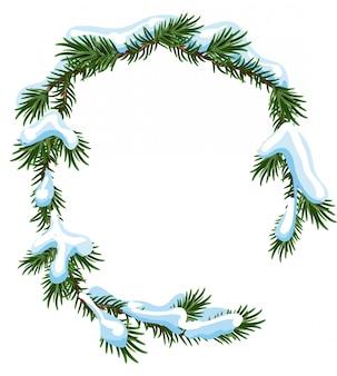 Het frame nette takken van kerstmis in sneeuw