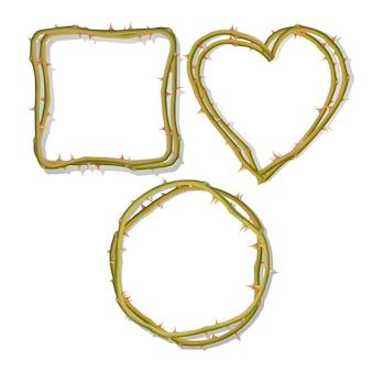 Het frame van doornen in de vorm van een hart geïsoleerd op een witte achtergrond