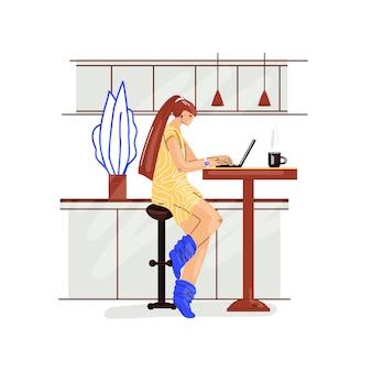 Het freelance vrouwenwerk in comfortabel gezellig huisbureau in keuken vlakke illustratie. freelancer meisjeskarakter die vanuit huis in ontspannen tempo werken, zelfstandig concept