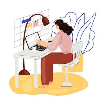 Het freelance vrouwenwerk in de comfortabele gezellige vlakke illustratie van het huisbureau. freelancer meisjeskarakter die vanuit huis in ontspannen tempo werken, zelfstandig concept