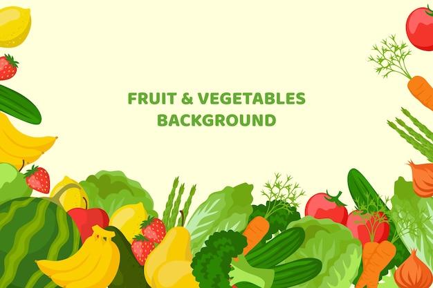 Het fruit en de groenten kopiëren ruimteachtergrond