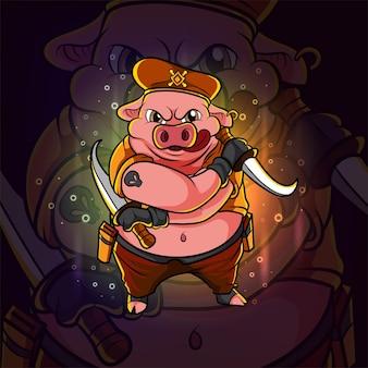 Het gangster varken esport logo-ontwerp van illustratie