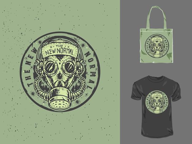 Het gasmasker nieuwe normale handgetekende illustratie