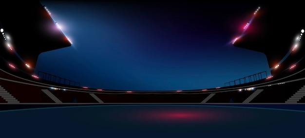 Het gebied van de voetbalarena met heldere stadionlichten