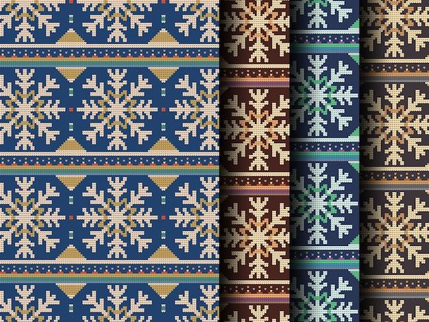 Het gebreide naadloze patroon van sneeuwvlokkenkerstmis