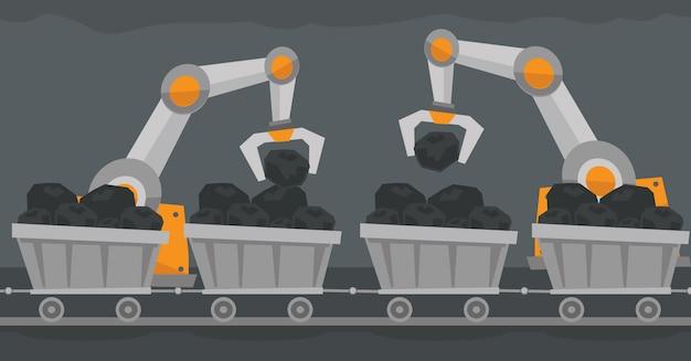 Het gebruik van robottechnologie in de mijnindustrie.