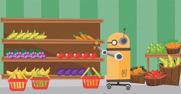 Het gebruik van robottechnologieën bij het winkelen.
