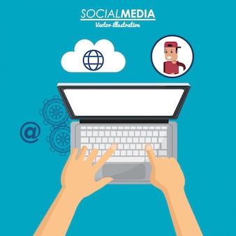Het gebruiken van laptop sociale media cloudverbinding
