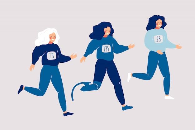 Het gehandicapte prothetische been van de vrouw loopt met anderen met sportvrouwen een marathon