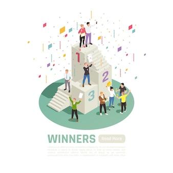 Het geïsoleerde en isometrische concept van de bannerwinnaar met prijswinnaars staat op een podiumillustratie,