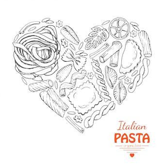 Het geïsoleerde hart van pasta