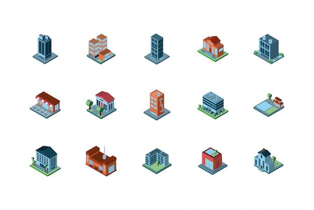Het geïsoleerde isometrische ontwerp van stadsgebouwen