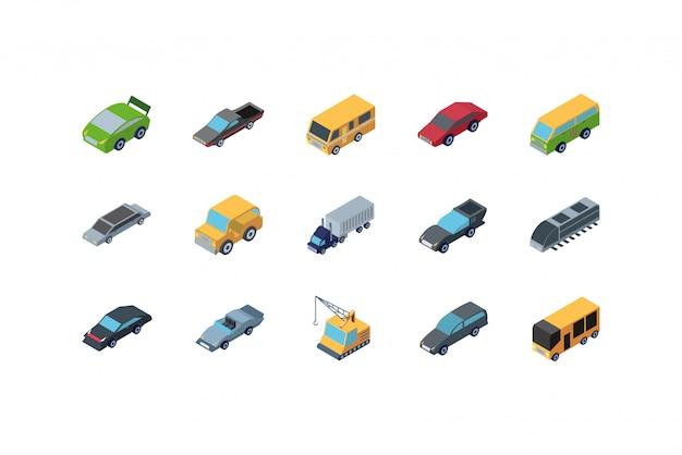 Het geïsoleerde isometrische vastgestelde ontwerp van het auto'spictogram