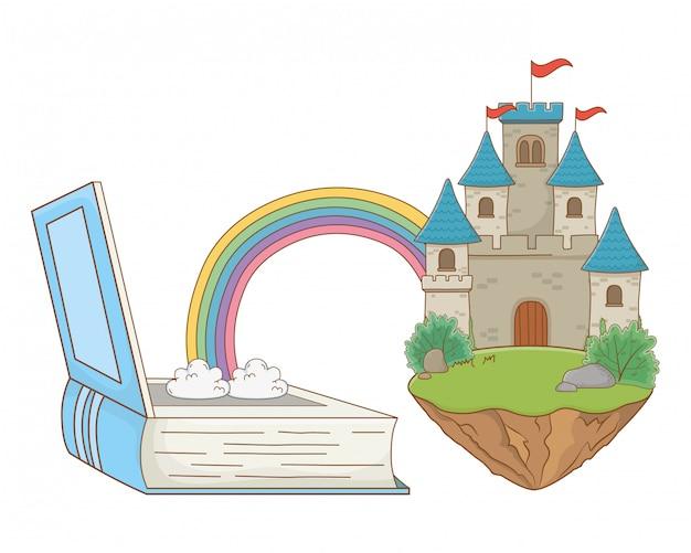Het geïsoleerde kasteel met wimpels ontwerpt vectorillustratie