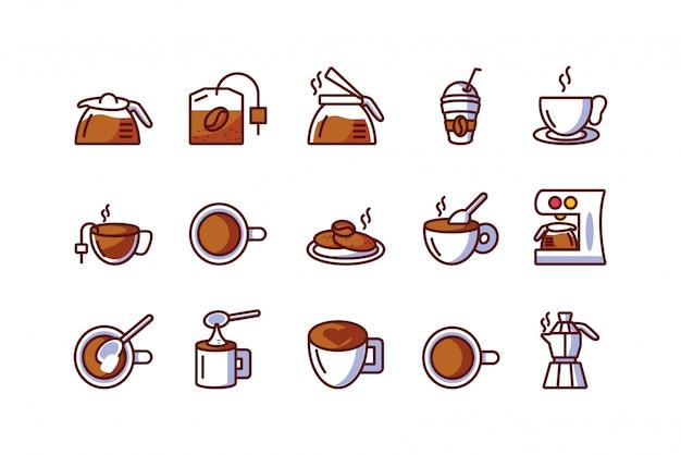 Het geïsoleerde vastgestelde vectorontwerp van het koffiepictogram