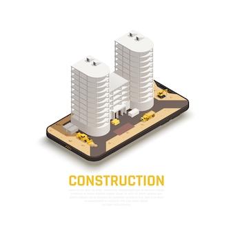 Het gekleurde geïsoleerde pictogram en de isometrische bouwsamenstelling met bouw van de bouw en tractoren werken vectorillustratie
