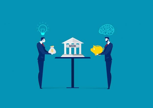 Het geld en het spaarvarken van de zakenmanholding voor investering.