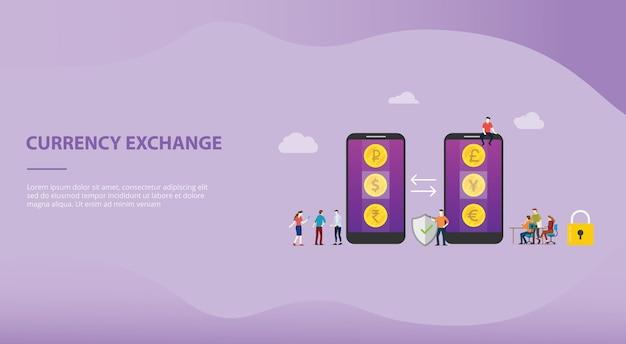 Het geldconcept van de muntuitwisseling met mobiele apps voor websitemalplaatje of het landen homepage