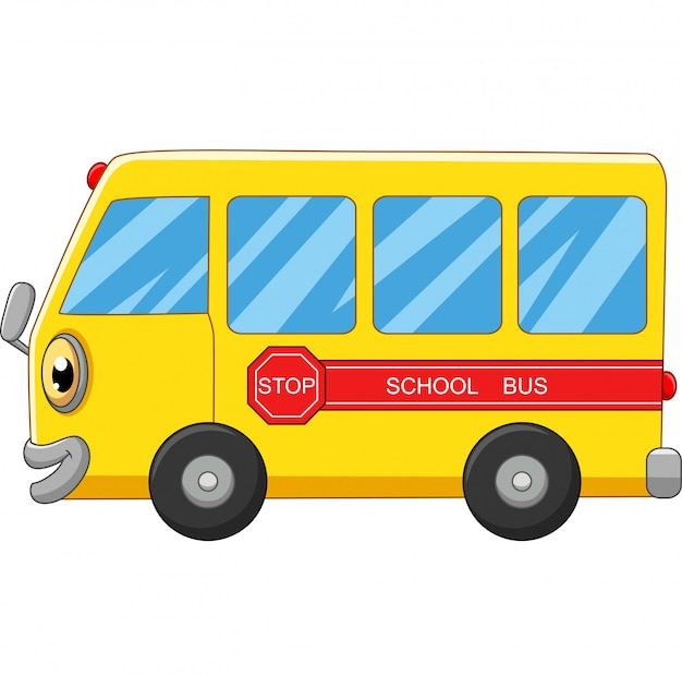 Het gele beeldverhaal van de schoolbus op wit