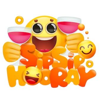 Het gele karakter van het emojibeeldverhaal met twee koppen wijn. slokje nipje hoera.
