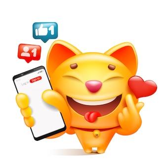 Het gele karakter van het kattenbeeldverhaal met in hand telefoon k-pop teken maken