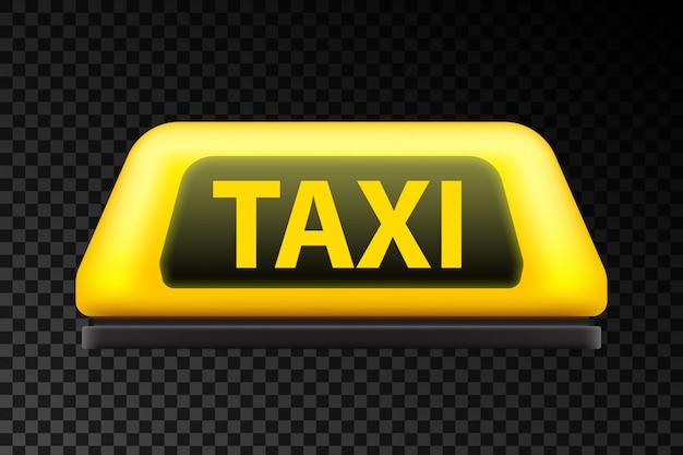 Het gele teken van het de autodak van de taxidienst op de straat.