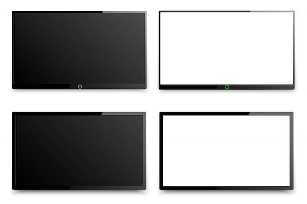 Het geleide tv hangen op de muurachtergrond