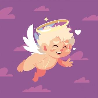 Het gelukkige beeldverhaal en de wolken van de valentijnskaarten blonde cupido