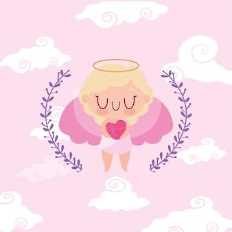 Het gelukkige beeldverhaal van de valentijnskaarten blonde cupido en bladerenkroon