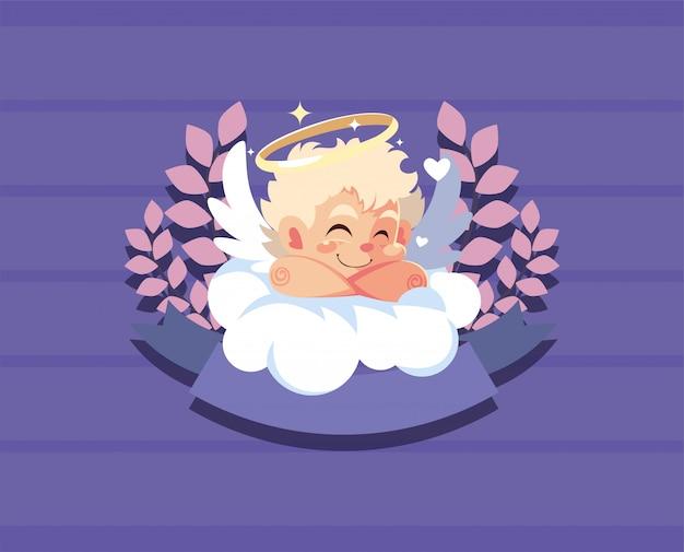 Het gelukkige beeldverhaal van de valentijnskaarten blonde cupido over wolk