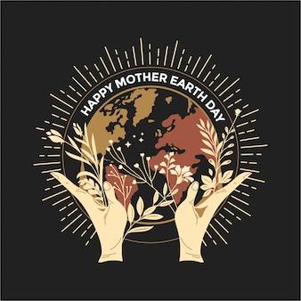 Het gelukkige concept van de moederaarde dag met aardbladeren en menselijke handen die drijvende bol in ruimte houden