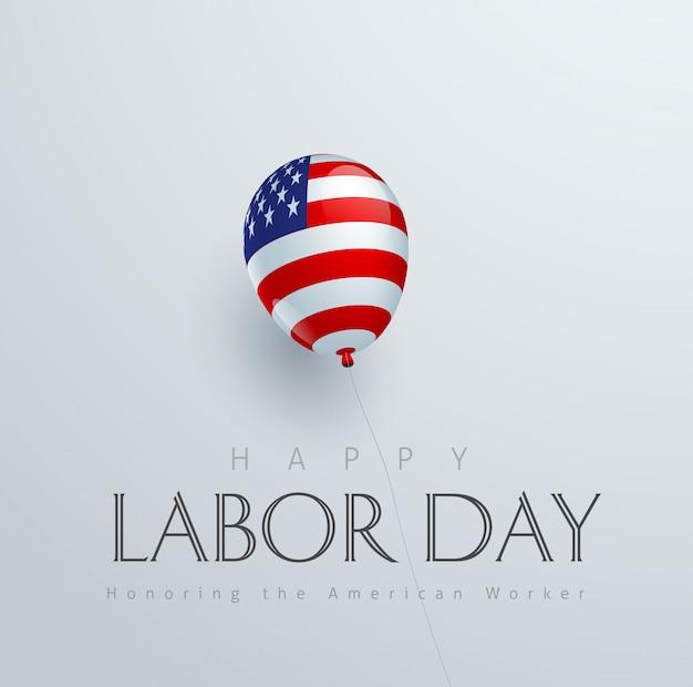 Het gelukkige decor van de van de achtergrond arbeidsdag bannermalplaatje met ballonvlag van amerika.